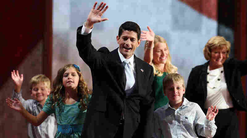 Republican vice presidential candidate, Rep. Paul Ryan waves with his family Wednesday at the GOP convention in Tampa. Also on stage: his daughter Liza,