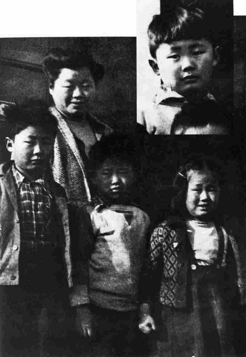 George Takei (left) stands with his mother and siblings during their internment at Camp Tule Lake in California. The inset image at top right shows Takei as a kindergartener at Camp Rohwer in Arkansas.