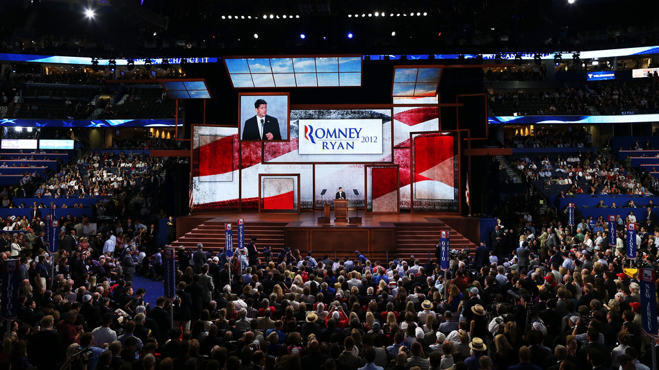 The scene inside the Tampa Bay Times Forum during the GOP convention Wednesday night. (Getty Images)