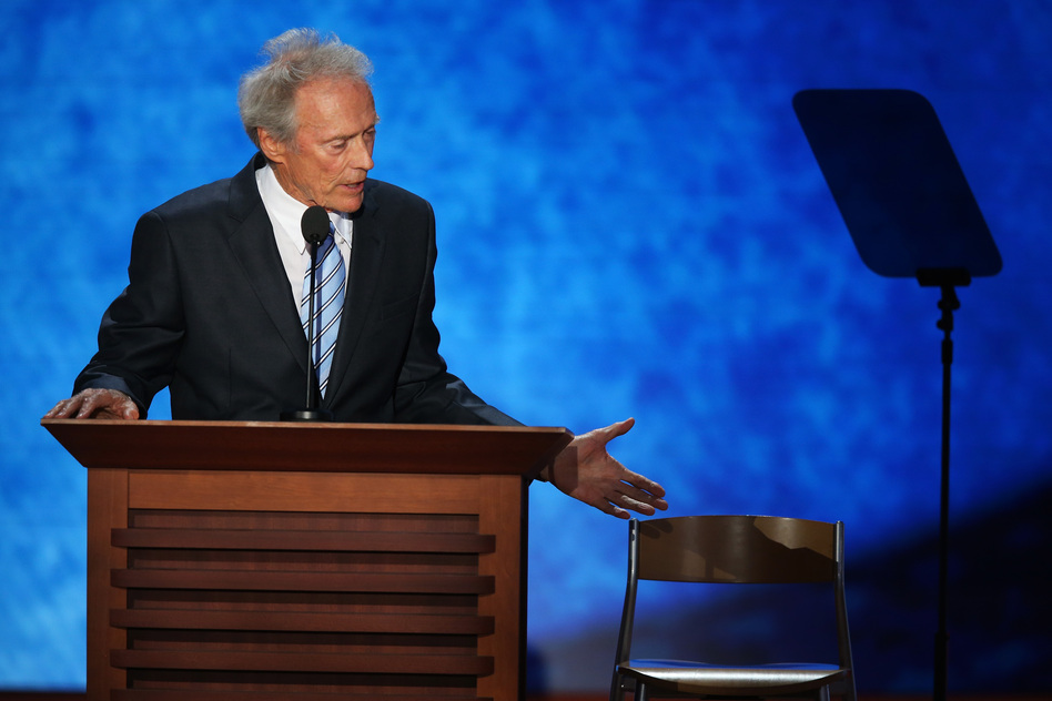 Actor Clint Eastwood speaks during the final day of the Republican National Convention at the Tampa Bay Times Forum Thursday.