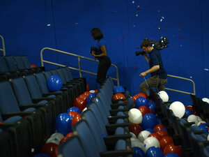 A camera crew leaves after the final day of the 2012 Republican national Convention at the Tampa Bay Times Forum August 29, 2012 in Tampa, Florida. Mitt Romney accepted the Republican nomination to run as the party's 2012 U.S. Presidential candidate against U.S. President Barack Obama.