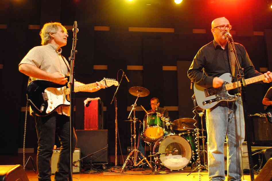Bandleaders Chris Stamey (left) and Peter Holsapple led the dB's at World Cafe Live in Philadelphia, Penn.