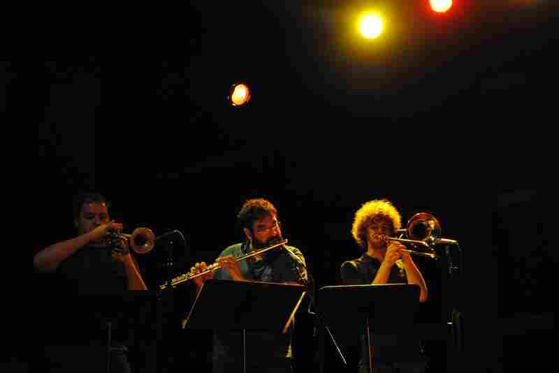 """A trio of local musicians joined the dB's on stage for """"Living a Lie,"""" from the band's 1982 album Repercussion."""
