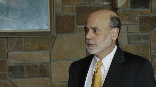 Federal Reserve Chairman Ben Bernanke arrives for a dinner at the Jackson Hole Economic Symposium on Thursday. (AP)