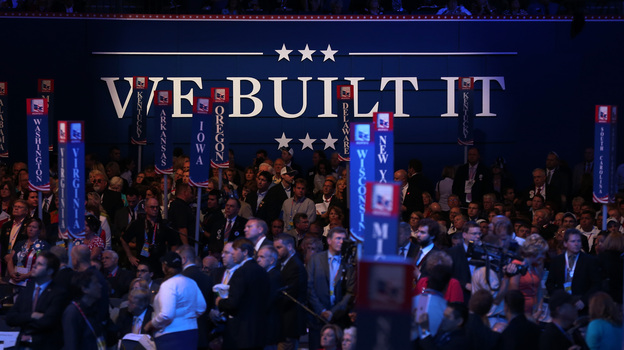 Delegates filled the floor Tuesday during the Republican National Convention at the Tampa Bay Times Forum in Tampa, Fla. (Getty Images)