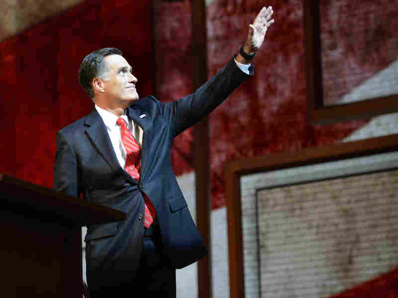 Mitt Romney waves before speaking during the final day of the 2012 Republican National Convention at the Tampa Bay Times Forum August 29, 2012 in Tampa, Florida. Romney accepted the Republican nomination to run as the party's 2012 U.S. Presidential candidate against President Barack Obama.