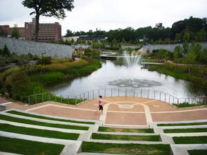 Green spaces and water features, like this new one behind Ponce de Leon Avenue in Atlanta, are ways cities can help combat rising temperatures. Trees provide shade, and evaporating water helps cool the air.