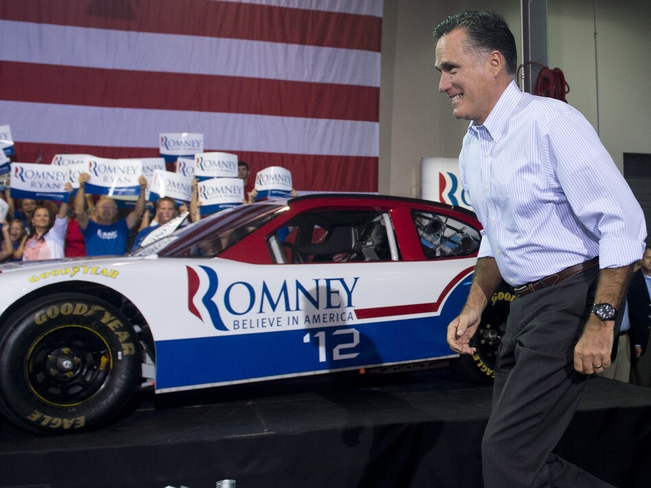 Republican presidential nominee Mitt Romney at the NASCAR Technical Institute in Mooresville, N.C, on Aug. 12. (AFP/Getty Images)