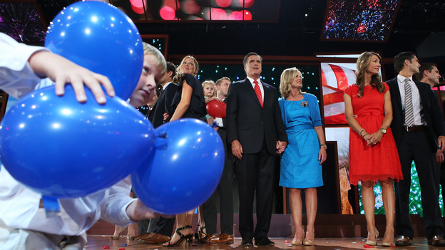 Mitt and Ann Romney (center) are surrounded by family members and balloons at the end of the 2012 Republican National Convention on Thursday in Tampa. (Getty Images)