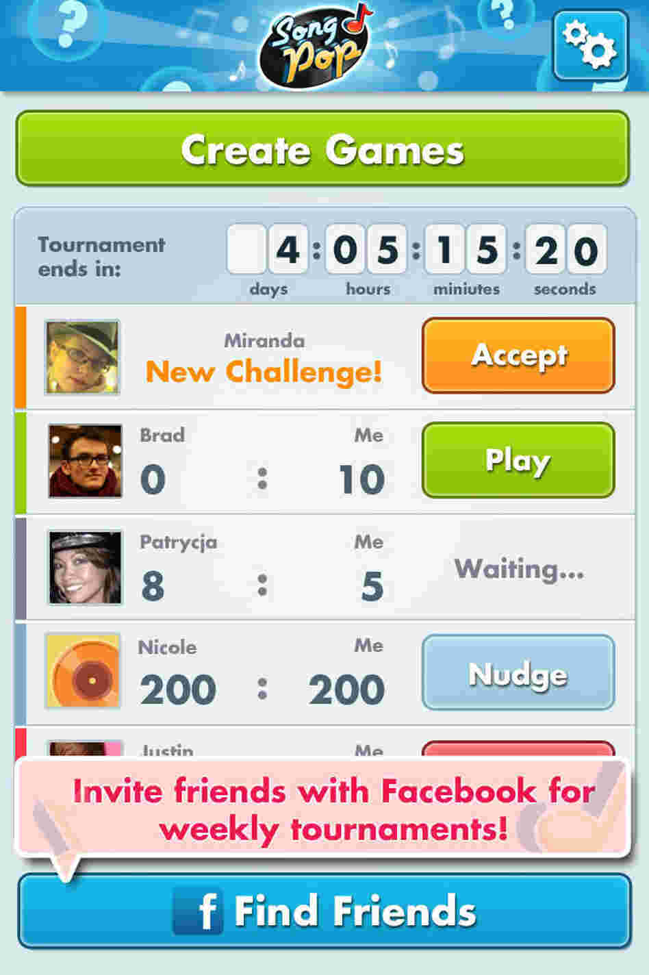 Screenshot showing players waiting to challenge you at SongPop.