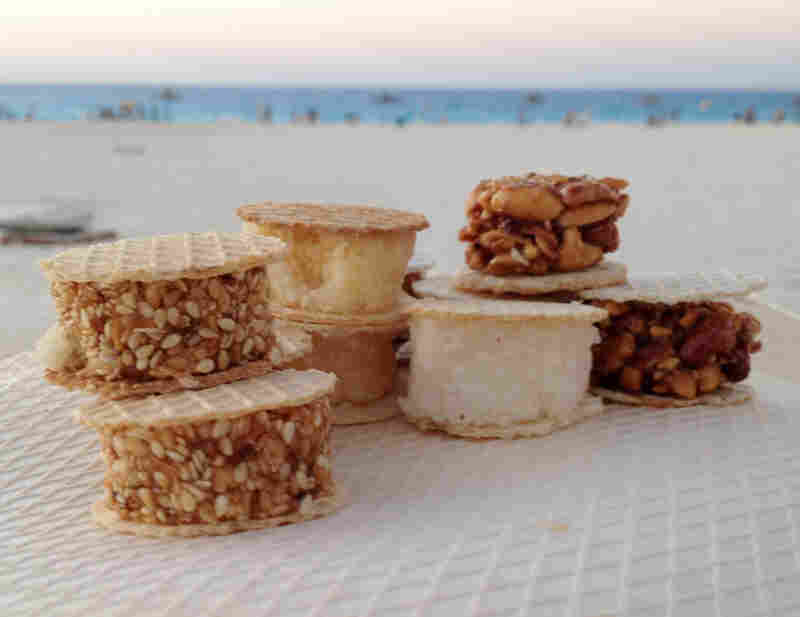 Freska are small, sweet treats — thin, crispy wafers sandwiching patties of sesame, peanuts or coconut, often held together by honey or sugar.