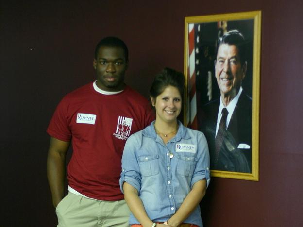 Romney-Ryan campaign volunteers Will Moore and Mindy Moorman in the Greensboro, N.C., office. (NPR)
