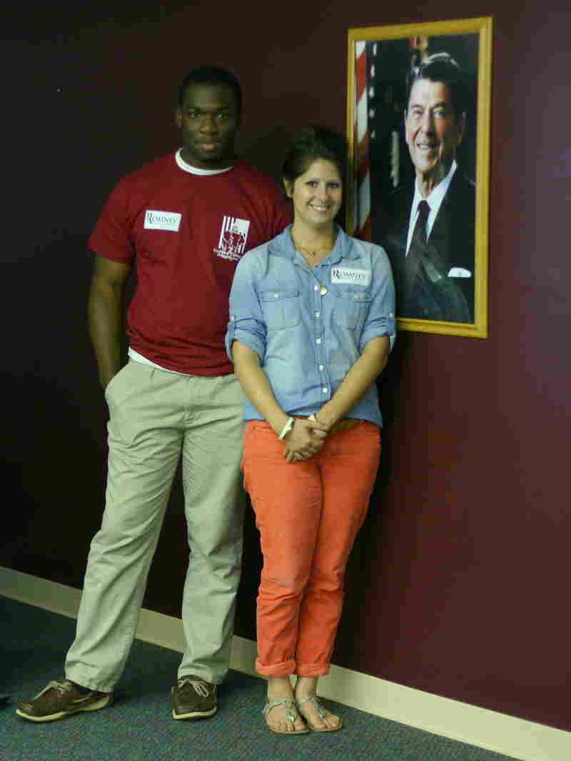 Romney-Ryan campaign volunteers Will Moore and Mindy Moorman in the Greensboro, N.C., office.