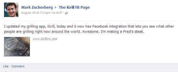 Zuckerberg's facebook update
