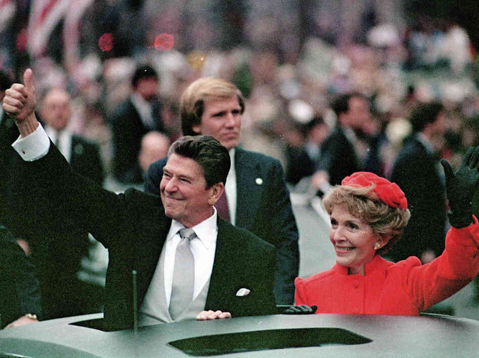 President Ronald Reagan and his wife, Nancy Reagan, in the inaugural parade in Washington, D.C., in January 1981.