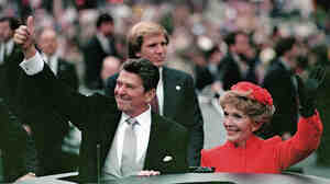 President Ronald Reagan and his wife, Nancy Reagan, in the inaugural parade in Washington, D.C., in January 1981. In his s