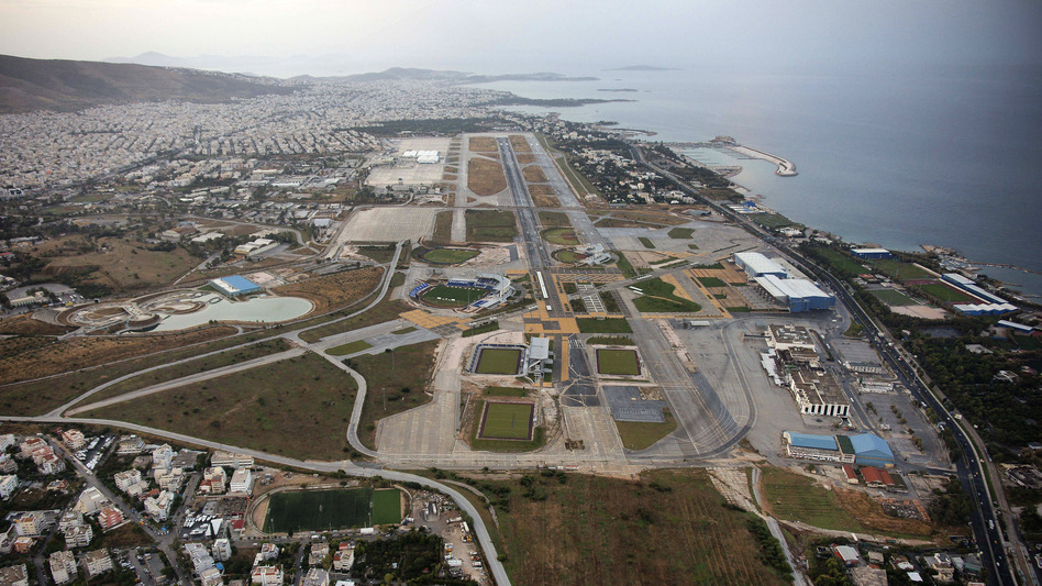 The old, decommissioned Athens airport in the southern district of Helleniko, seen here in 2008, is one of the properties the Greek government is hoping to sell. (AP)