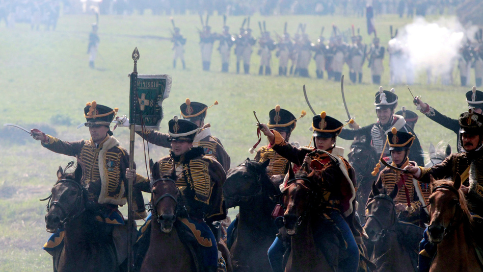 Members of historical clubs, dressed as Russian cavalry, advance during the 2010 re-enactment of the 1812 battle between Napoleon's army and Russian troops in Borodino. (AFP/Getty Images)