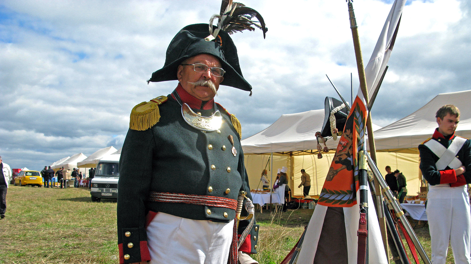 Re-enactor Viktor Penzas of Belarus represents a lieutenant colonel in the Russian army. He says the officers of the time were frequent casualties, because they were expected to lead their troops from the front. (NPR)