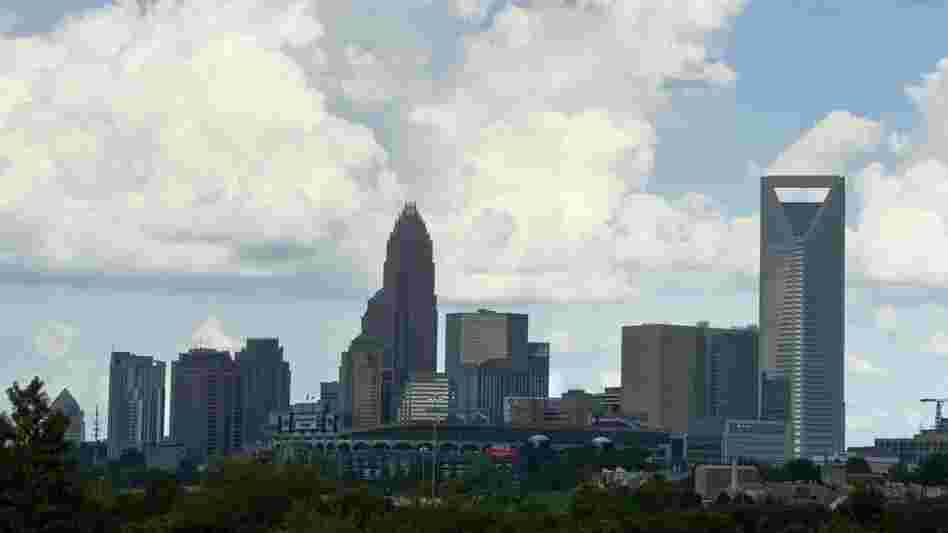 A view of the skyline of Charlotte, N.C., on Sunday. Preparations for the Democratic National Convention are under way around Charlotte, where the party is expected to nominate President Obama to run for a second term.