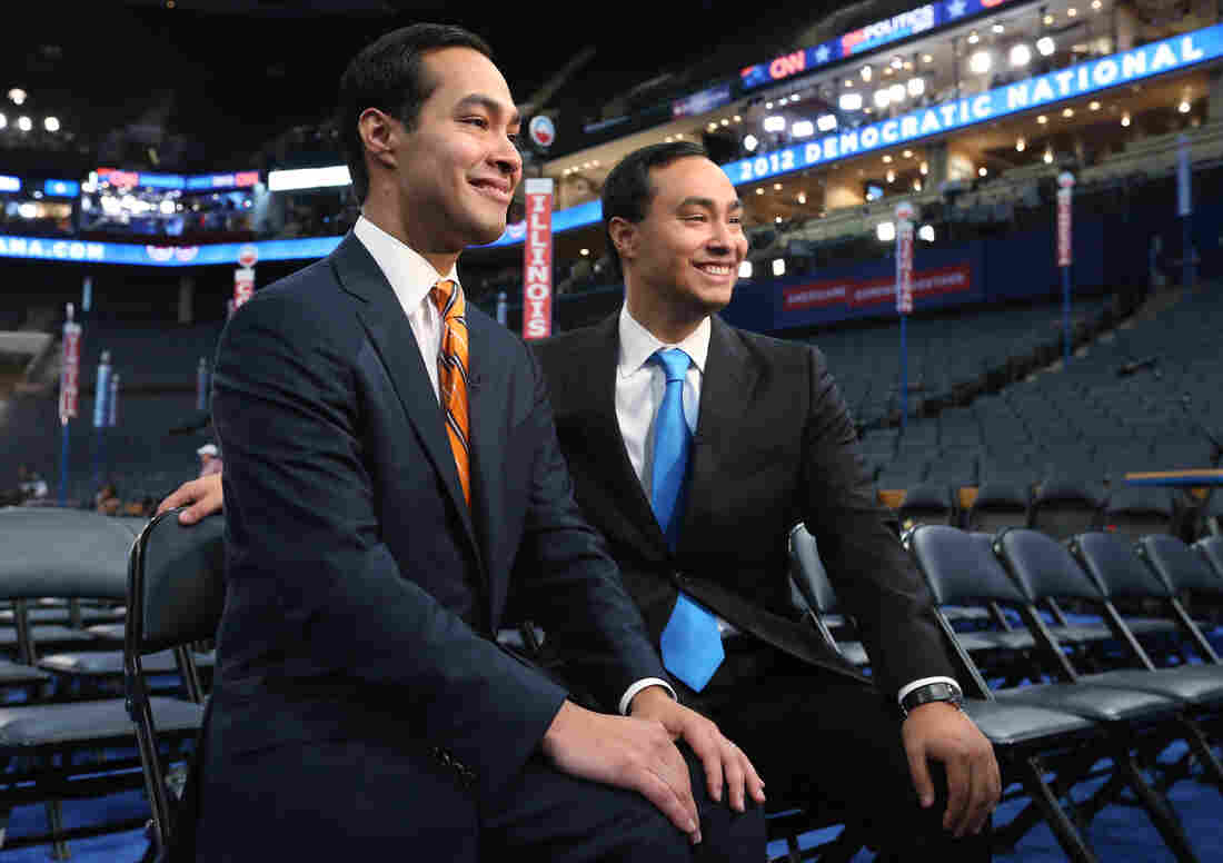 San Antonio Mayor Julian Castro, left, and his twin brother State Rep. Joaquin Castro give an interview during prepa