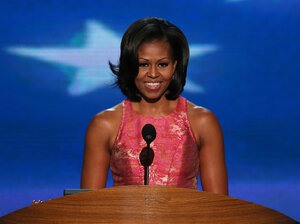First lady Michelle Obama speaks at the Democratic National Convention in Charlotte, N.C., on Tuesday