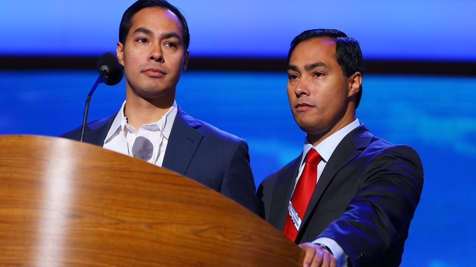 San Antonio Mayor Julian Castro (left) stands onstage with his twin, Joaquin, during preparations Monday for the Democratic National Convention in Charlotte, N.C. The mayor will give the keynote address Tuesday night, introduced by his brother, a Texas legislator.
