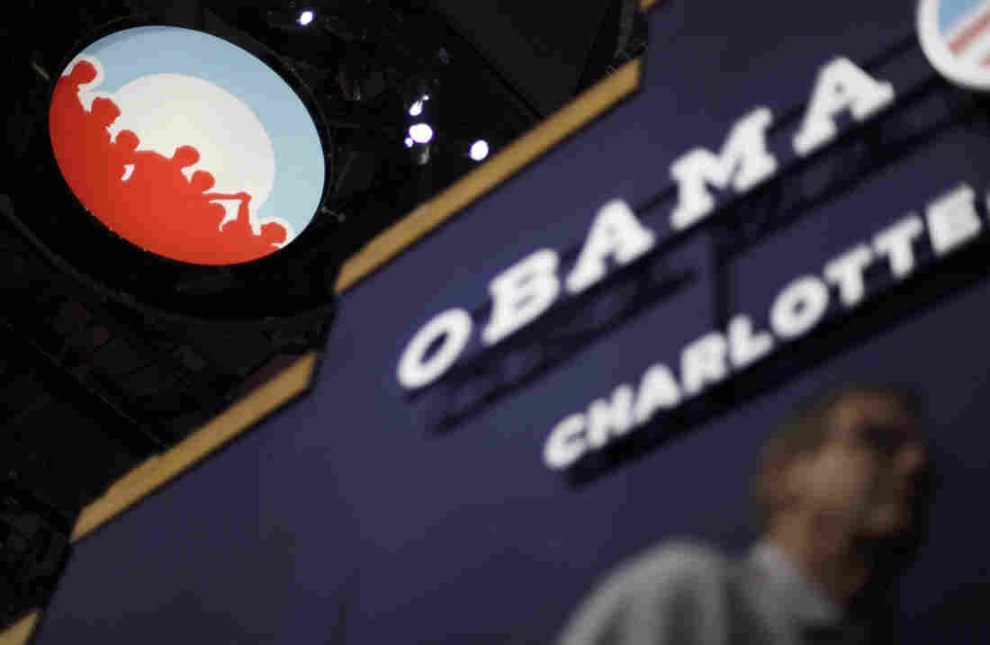 The Obama campaign logo hangs from the ceiling in