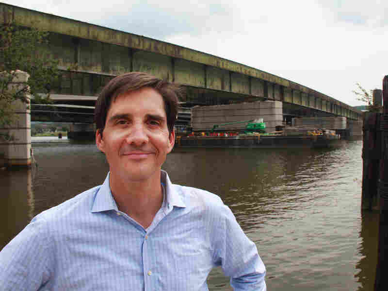 Scott Kratz, a volunteer adviser for the park proposal, stands in front of the old 11th Street Bridge. He's optimistic that advocates can raise the funds needed to complete the project.