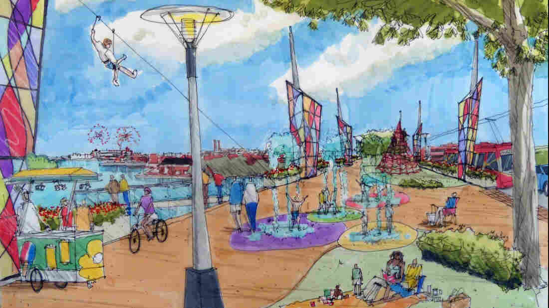 An illustration for a park proposed for Washington's old 11th Street Bridge. If realized, the park would span the Anacostia River, linking the Capitol Hill neighborhood with lower-income Anacostia.