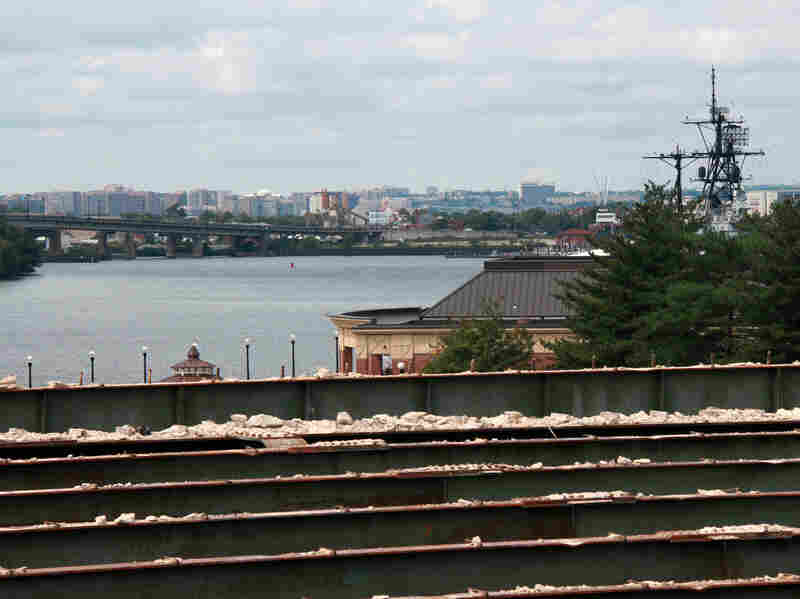 The concrete atop the old bridge has been stripped off. The proposed park would offer impressive views.