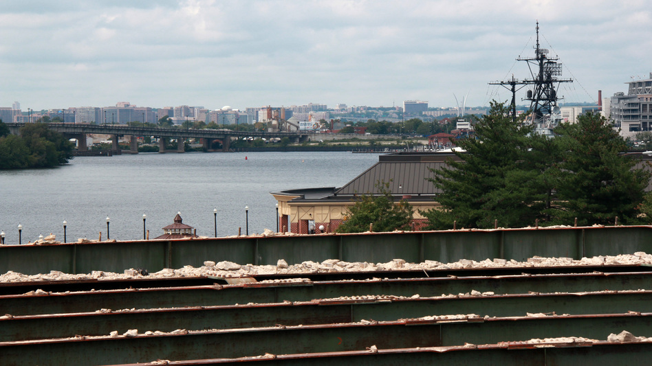 The concrete atop the old bridge has been stripped off. The proposed park would offer impressive views. (NPR)