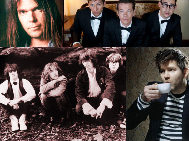 Neil Young (clockwise from upper left), fun., James Murphy of LCD Soundsystem, early era R.E.M.