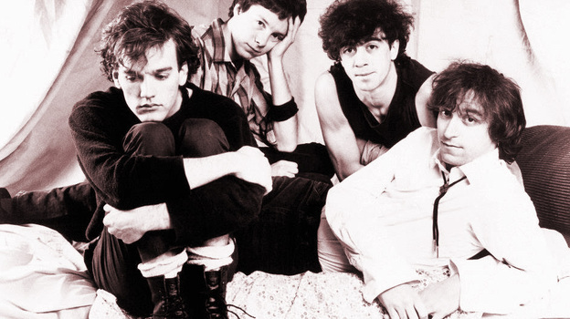 Neil Young (clockwise from upper left), fun., James Murphy of LCD Soundsystem, early era R.E.M. (Courtesy of the artists)