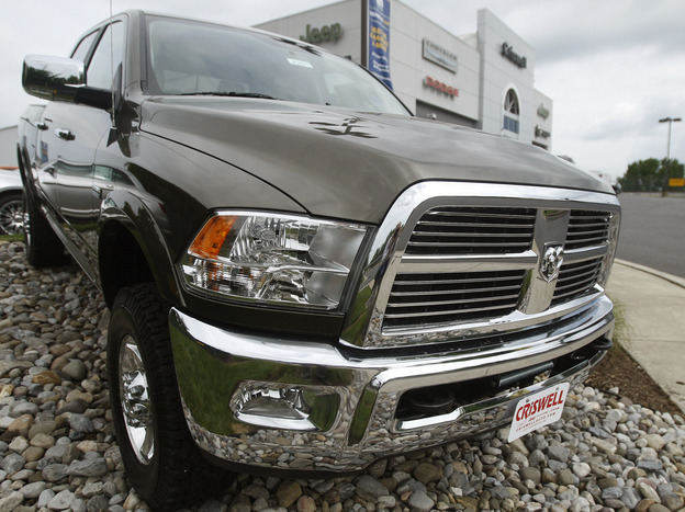 A Dodge Ram pickup on sale at Criswell Chrysler Jeep Dodge in Gaithersburg, Md.