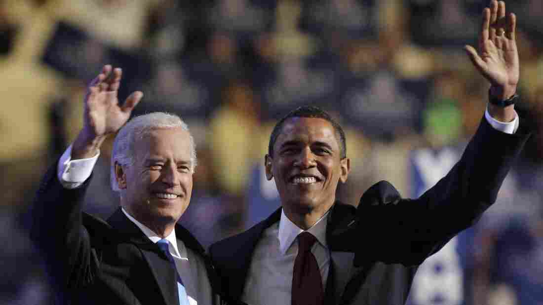 V ice President Joe Biden, left, and President Obama embrace following Biden's vice-presidential nomination acceptance speech at the Democratic National Convention in Denver, Wednesday, Aug. 27, 2008.