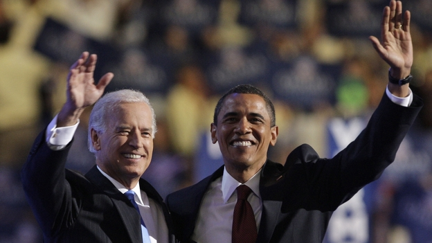 V ice President Joe Biden, left, and President Obama embrace following Biden's vice-presidential nomination acceptance speech at the Democratic National Convention in Denver, Wednesday, Aug. 27, 2008. (AP)