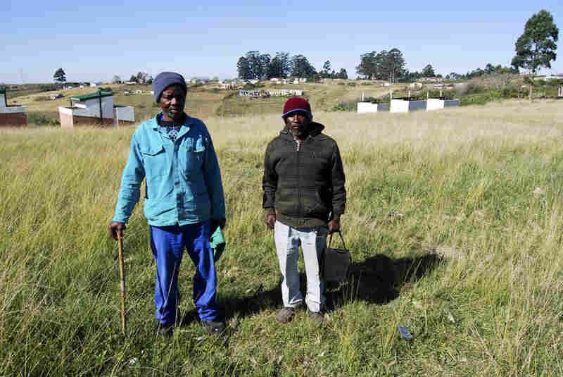 Armstrong Ngutyana (left), 55, and Dumisani Mjolwa, 65, were gold miners during the apartheid era. Both worked underground for nearly three decades. They developed lung disease and were forced to quit their jobs, but received only minimal compensation. They are now part of a class-action lawsuit against South African mining companies.