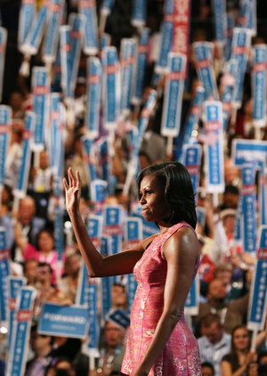 First lady Michelle Obama speaks Tuesday at the Democratic National Convention in Charlotte, N.C.