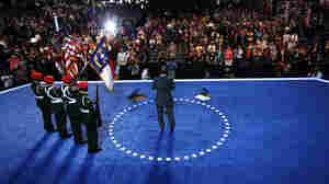 Musician Branford Marsalis performs the national anthem as the West Charlotte High School ROTC present the colors during Day 2 of the Democratic National Convention at Time Warner Cable Arena in Charlotte, N.C.