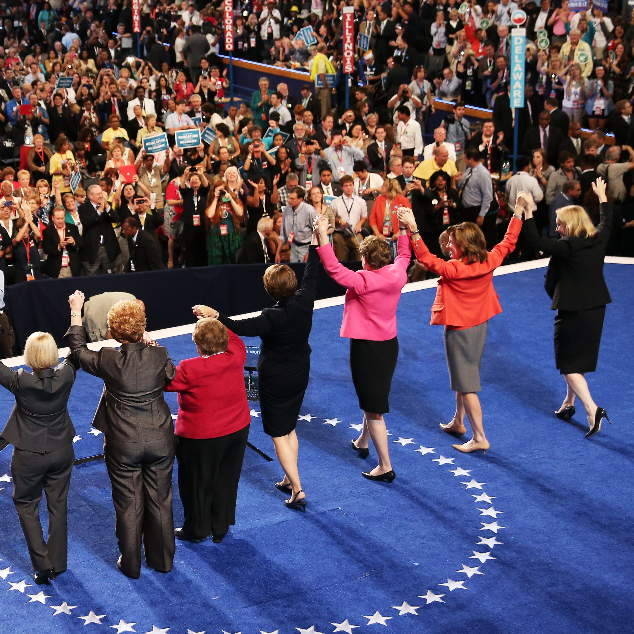 Maryland Sen. Barbara Mikulski (center) is joined by other U.S. female senators as a show of solidarity during Day 2 of the Democratic National Convention at Time Warner Cable Arena in Charlotte, N.C.