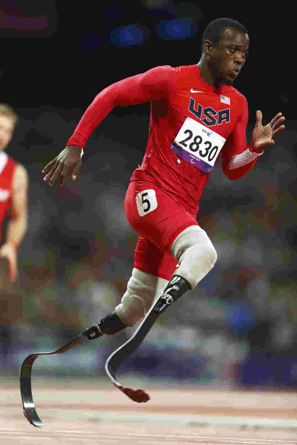 Pistorius and American Blake Leeper, seen here, share the fastest time for a double amputee in the 100-meter sprint.