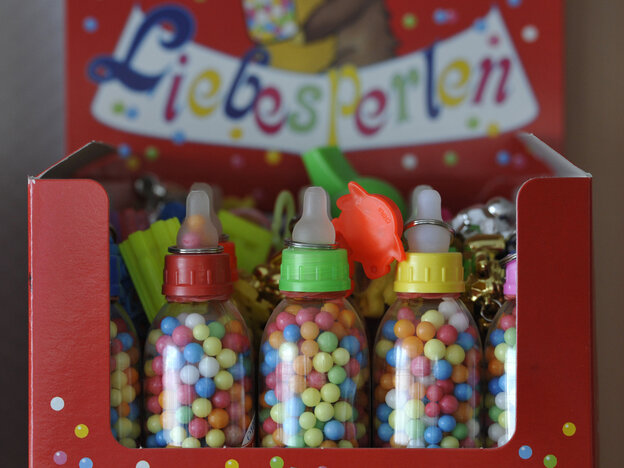 """These German Liebesperlen, or """"love pearls,"""" helped researchers unravel the mysteries of how candies dissolve. Why the baby bottle packaging? Beats us."""