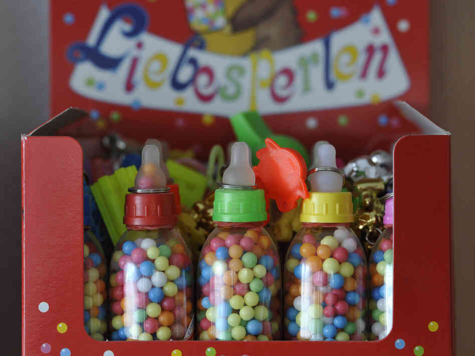 "These German Liebesperlen, or ""love pearls,"" helped researchers unravel the mysteries of how candies dissolve. Why the baby bottle packaging? Beats us."