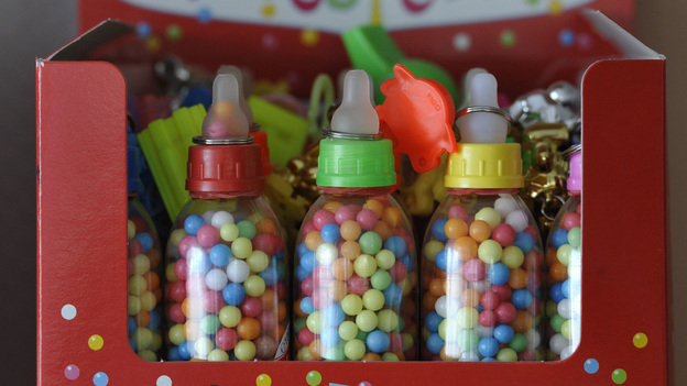 """These German Liebesperlen, or """"love pearls,"""" helped researchers unravel the mysteries of how candies dissolve. Why the baby bottle packaging? Beats us. (APN)"""