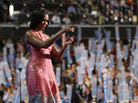First lady Michelle Obama waves after addressing the Democratic National Convention in Charlotte, N.C., on Tuesday.
