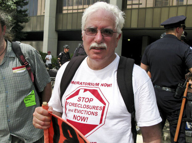 David Sole rode a bus from Detroit to the Democratic National Convention in Charlotte, N.C., to protest how the Obama administration and the nation's banks have handled the foreclosure crisis.