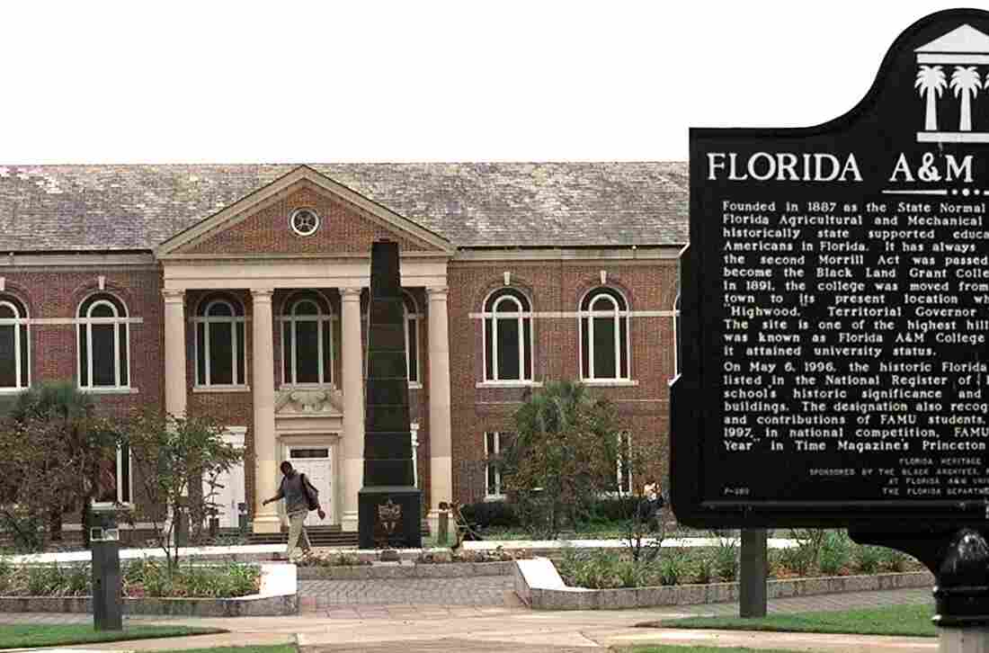 A student crosses the campus of Florida A&M University.