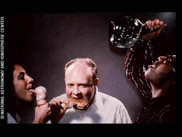 Demonstration of licking, eating and drinking