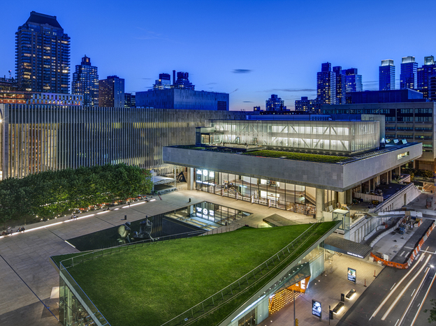 LCT3's Claire Tow Theater is a two-story structure built on a steel truss that straddles<em> </em>the roof of Lincoln's Vivian Beaumont Theater. Before or after performances, theatergoers can mingle over drinks at a roofdeck bar that overlooks Lincoln Center and the surrounding neighborhood.